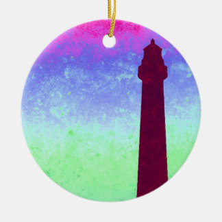 Teal Pink Blue Lighthouse Sky Digital Art Ceramic Ornament