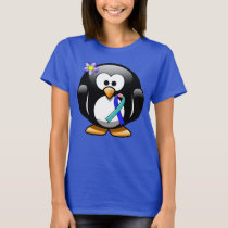Teal/Pink/Blue Ribbon Penguin T-Shirt