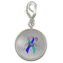 Teal/Pink/Blue Ribbon with Butterfly Charm
