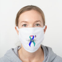 Teal/Pink/Blue Ribbon with Butterfly White Cotton Face Mask