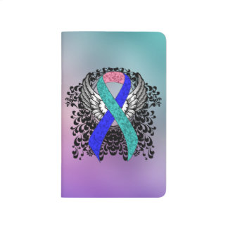 Teal/Pink/Blue Ribbon with Wings Journal
