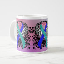 Teal/Pink/Blue Ribbon with Wings Large Coffee Mug