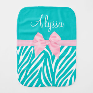 Teal Pink Bow Zebra Personalized Burp Cloth