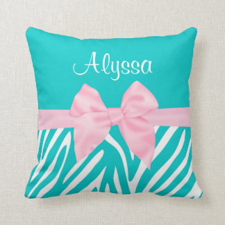 Teal Pink Bow Zebra Personalized Pillow