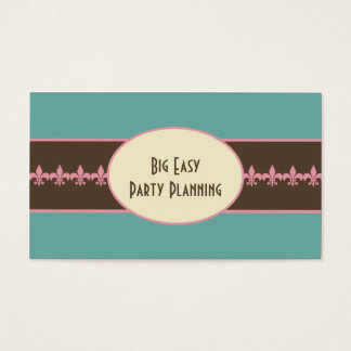 Teal Pink Brown Fleur de Lis Business Card