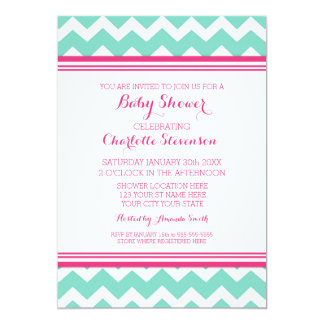 Teal Pink Chevron Custom Baby Shower Invitations