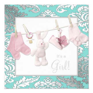 Teal Pink Clothesline Baby Girl Shower Customized Invitation Cards
