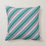 [ Thumbnail: Teal & Pink Colored Striped Pattern Throw Pillow ]