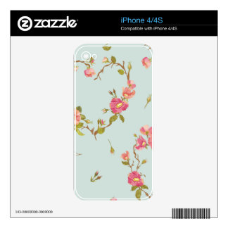 teal,pink,floral,cute,flowers,pattern,girly,trendy decal for the iPhone 4