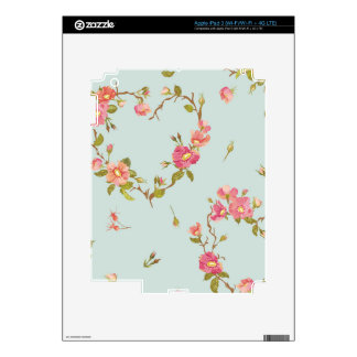 teal,pink,floral,cute,flowers,pattern,girly,trendy skin for iPad 3