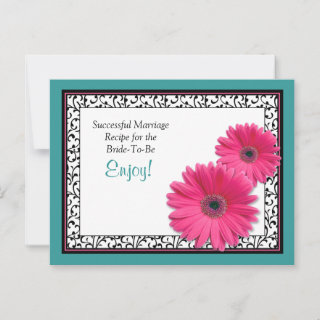 Teal Black Pink Gerbera Successful Marriage Recipe Card