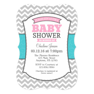 Teal Pink Gray Chevron Baby Shower Invitation