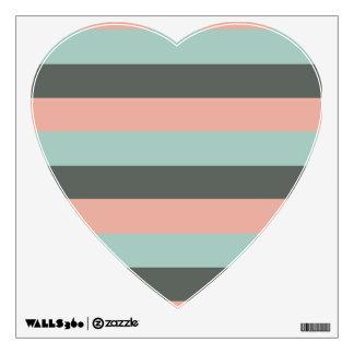 Teal Pink Gray Stripes Pattern Wall Sticker