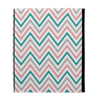 Teal Pink Grey Chevron Zigzag Monogram iPad Cases