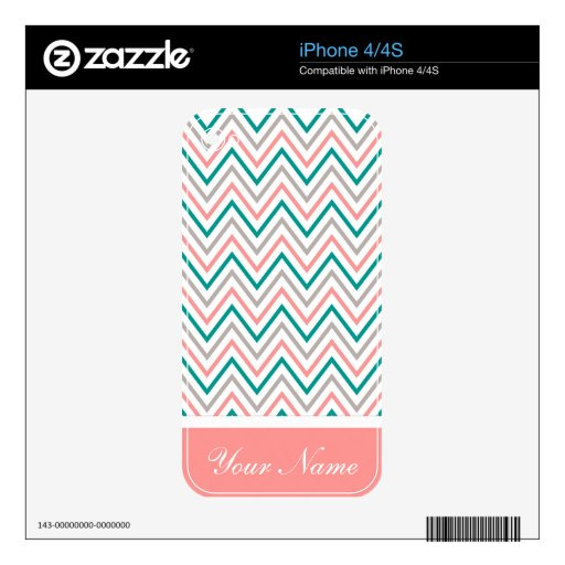 Teal Pink Grey Chevron Zigzag Monogram Decal For iPhone 4