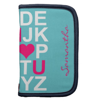 Teal Pink Heart Customizeable Sleeves Planners