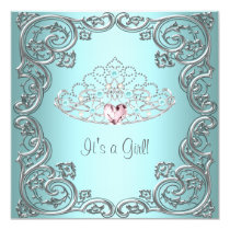 Teal Pink Heart Tiara Princess Baby Shower 5.25x5.25 Square Paper Invitation Card