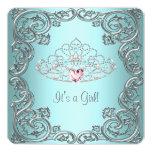 Teal Pink Heart Tiara Princess Baby Shower Customized Announcement Card