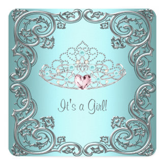 "Teal Pink Heart Tiara Princess Baby Shower 5.25"" Square Invitation Card"