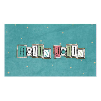 Teal Pink Holly jolly Christmas Chic Business Cards