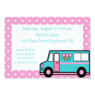Teal Pink Ice Cream Party Birthday Invitation