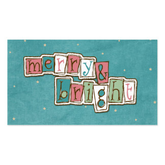 Teal Pink Merry and Bright Christmas Business Cards