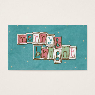 Teal Pink Merry and Bright Christmas Business Card