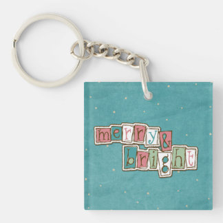 Teal Pink Merry and Bright Christmas Keychain