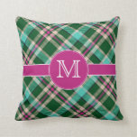 Teal & Pink Personalized Monogram Throw Pillow