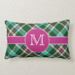 Teal & Pink Plaid Lumbar Pillow