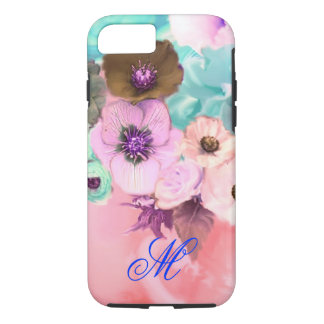 TEAL PINK ROSES AND ANEMONE FLOWERS MONOGRAM iPhone 8/7 CASE