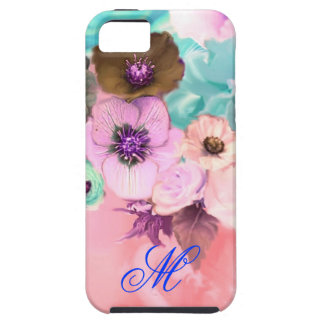 TEAL PINK ROSES AND ANEMONE FLOWERS MONOGRAM iPhone SE/5/5s CASE