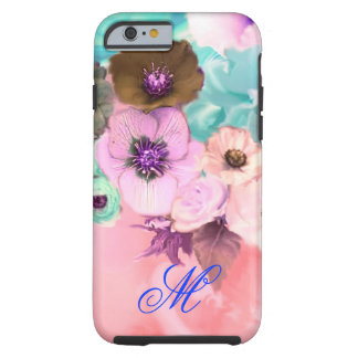 TEAL PINK ROSES AND ANEMONE FLOWERS MONOGRAM TOUGH iPhone 6 CASE