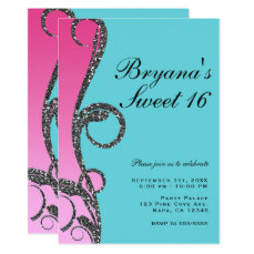 Teal & Pink Silver Glitter Swirl Sweet 16 Party Card
