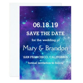 Teal & Pink Universe Nebula Wedding Card