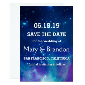 Teal Pink Universe Nebula Wedding Card