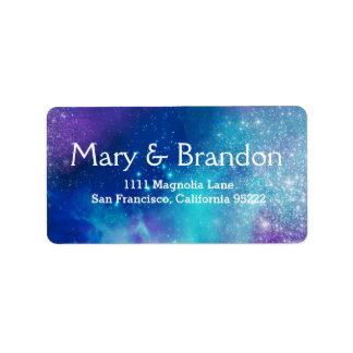 Teal & Pink Universe Nebula Wedding Label