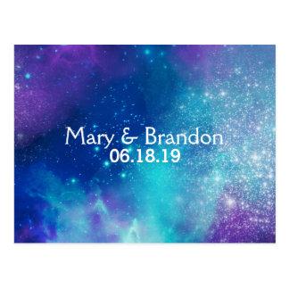 Teal & Pink Universe Nebula Wedding Postcard