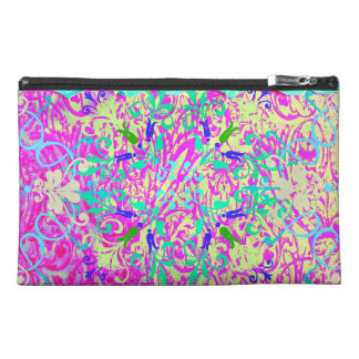 Teal Pink Vibrant Swirl Abstract Girly Collage Travel Accessories Bags