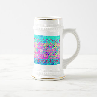 Teal Pink Vibrant Swirl Abstract Girly Collage Beer Stein
