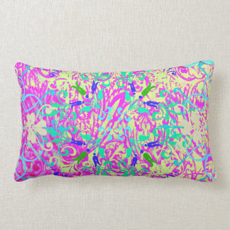Teal Pink Vibrant Swirl Abstract Girly Collage Pillow