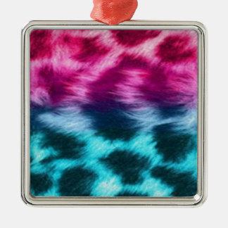 Teal & pink zebra fur print metal ornament