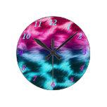 Teal & pink zebra fur print round clock