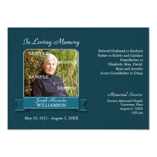 "Teal Pinstripe Banner Memorial Notice 4.5"" X 6.25"" Invitation Card"
