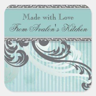 Teal Pinstripe Flourish Baking Stickers