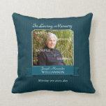 Teal Pinstripe Memorial American MoJo Pillow