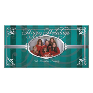 Teal Pinstriped Silver Faux Jewel Photo Cards
