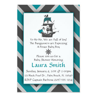 "Teal Pirate Baby Shower Invitation 5"" X 7"" Invitation Card"