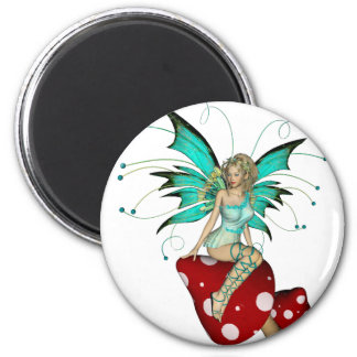 Teal Pixie & Mushrooms 3D 2 Inch Round Magnet