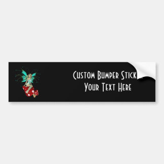 Teal Pixie & Mushrooms 3D Bumper Sticker